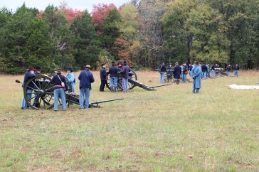 Artillery re-enactment, battery on line